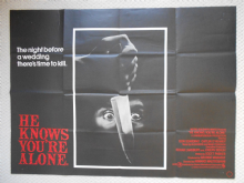 He Knows You're Alone, Original UK Quad Horror Poster, Don Scardino, '80